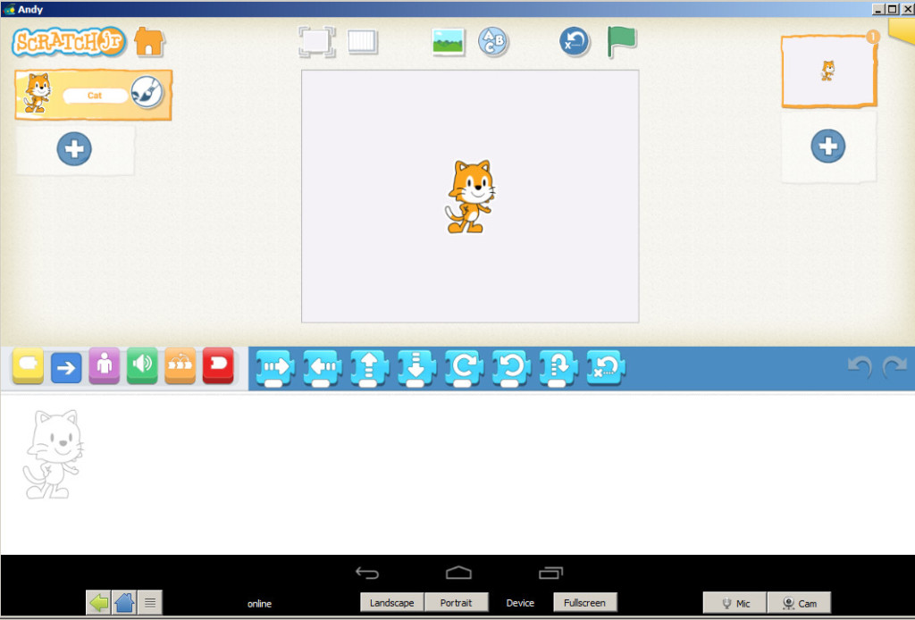 Screenshot of the Android emulator known as Andy.